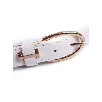Pin Buckle Watchband Wide Belt - WHITE