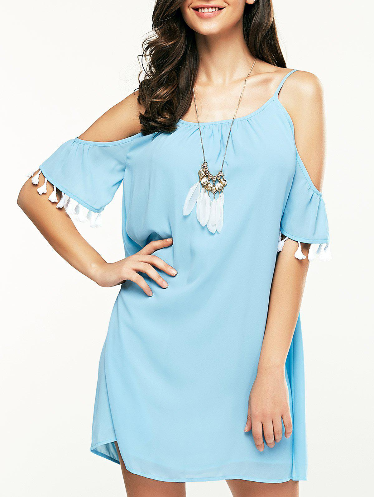Stylish Women's Round Neck Cold Shoulder Fringe Dress - LAKE BLUE L