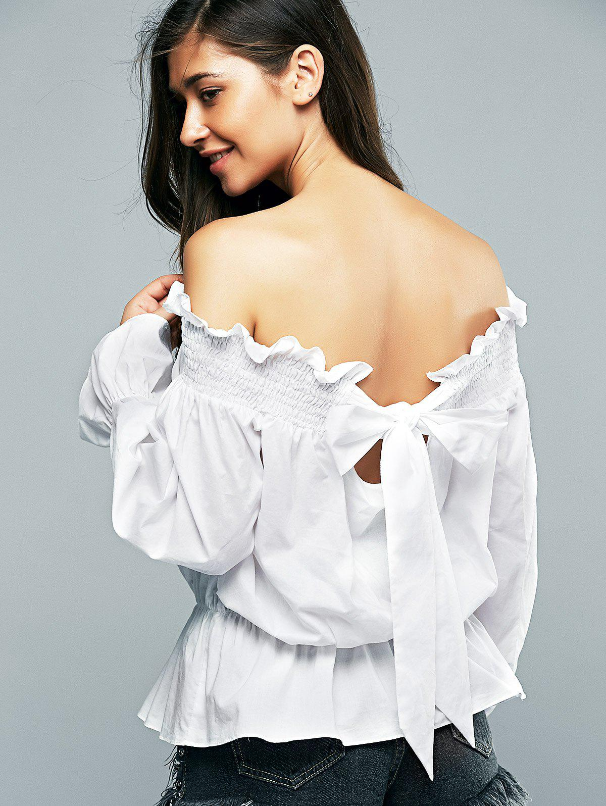 Off-The Shoulder Long Sleeve Loose-Fitting Blouse - WHITE XL