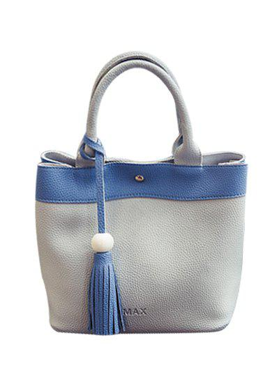 PU Leather Tassels Magnetic Closure Tote Bag -  LIGHT GRAY