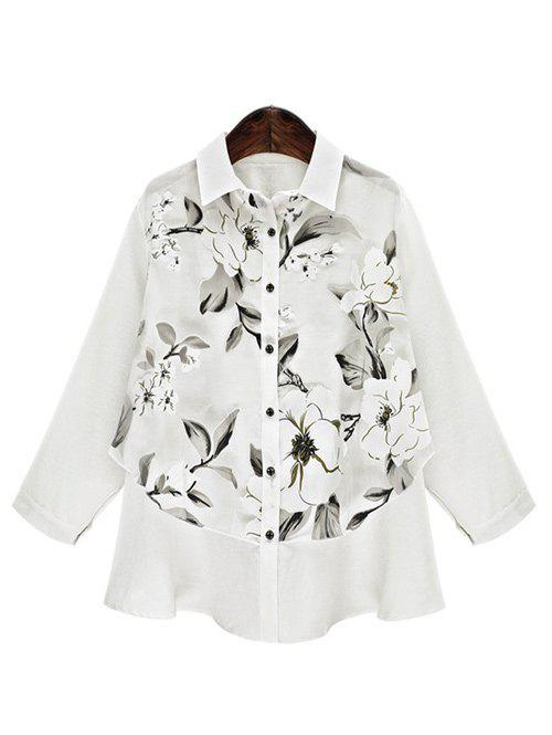 Loose-Fitting Floral Pattern Blouse - WHITE 5XL