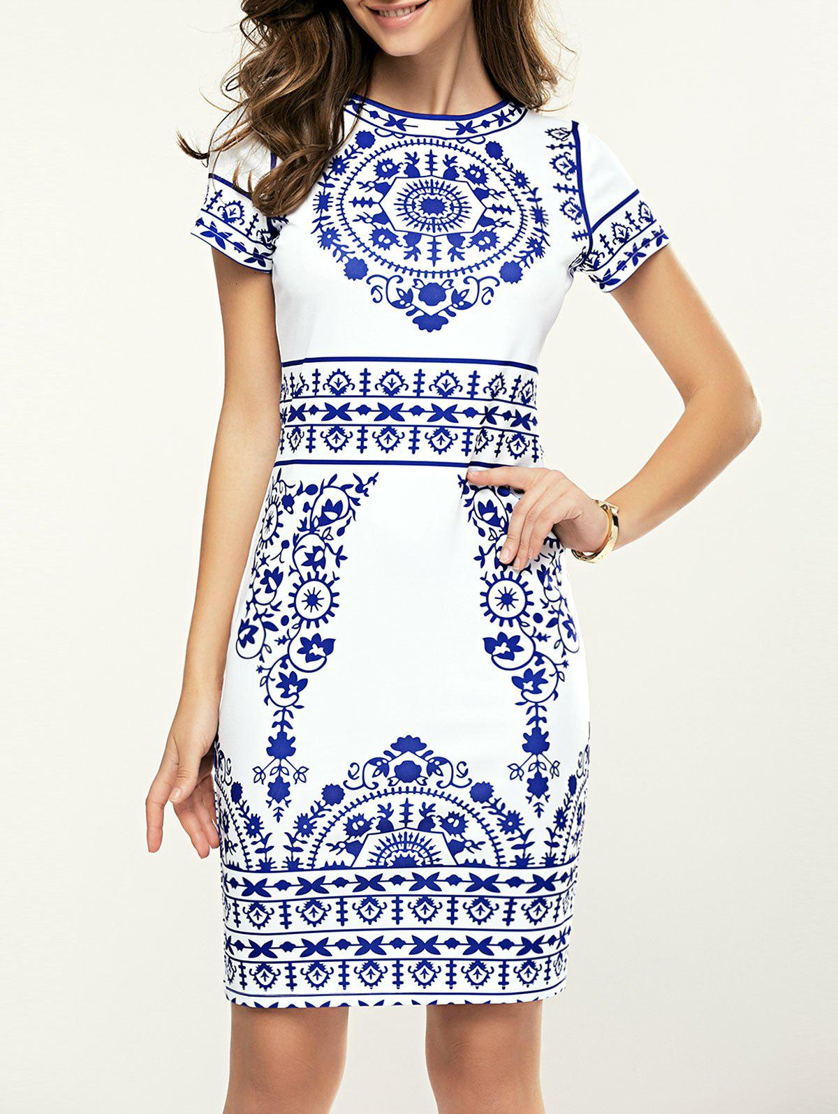 Women's Short Sleeve Blue and White Porcelain Print Dress - PURPLISHBLUE / WHITE XL