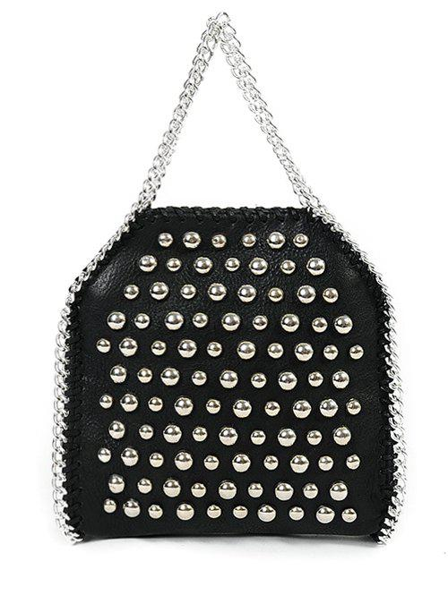 Metal Rivets PU Leather Chains Tote Bag - BLACK