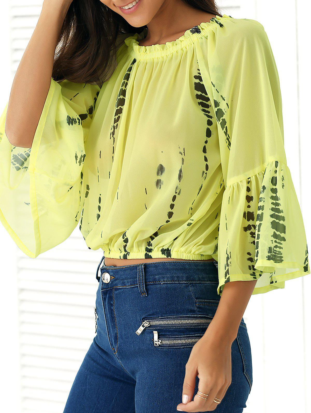 Off-The-Shoulder Ink-Painting Blouse - YELLOW L