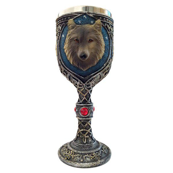 Drinkware Wolf Head Floral Decorative Pattern Goblet