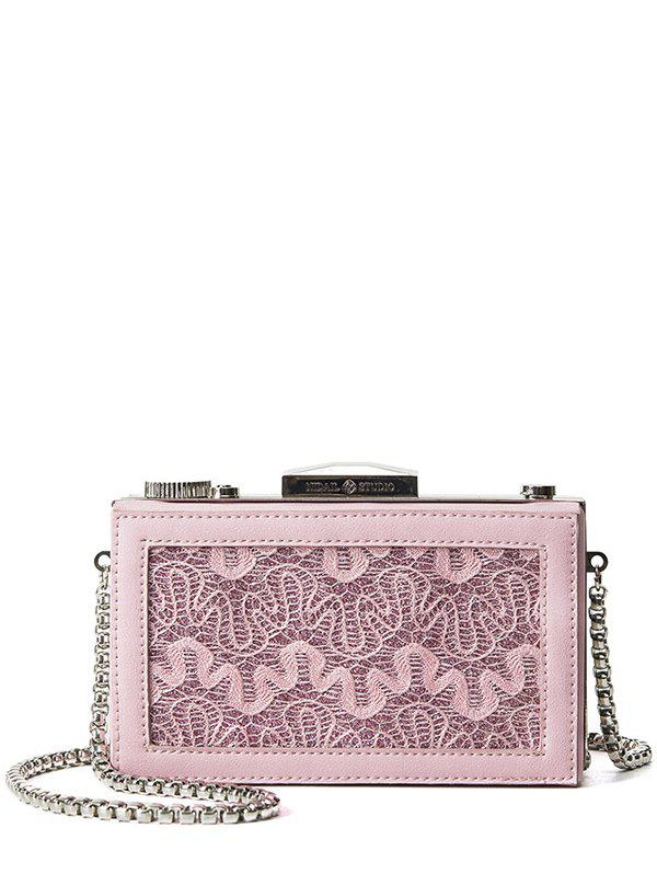 Box Shape Splicing Lace Evening Bag -  PINK