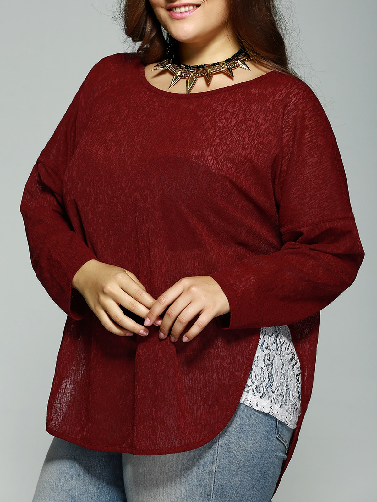 Oversized Lace Patchwork Asymmetrical Blouse - WINE RED 2XL