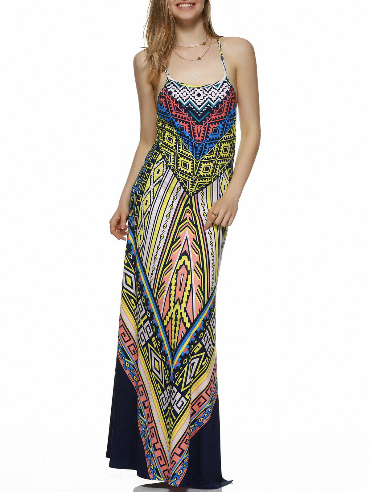 Bohemian Open Back Side Slit Maxi Dress