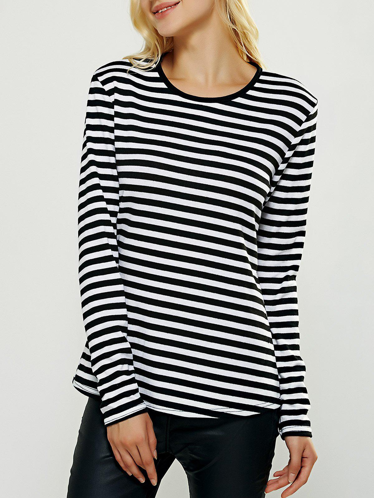 Breif Long Sleeves Striped Tee