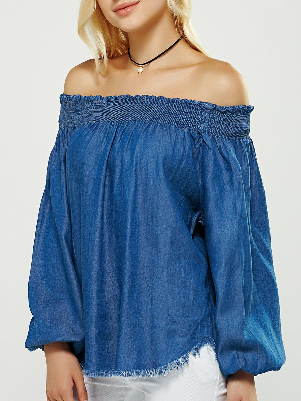Off-The-Shoulder Fringed Puff Sleeves Denim Blouse - DENIM BLUE L