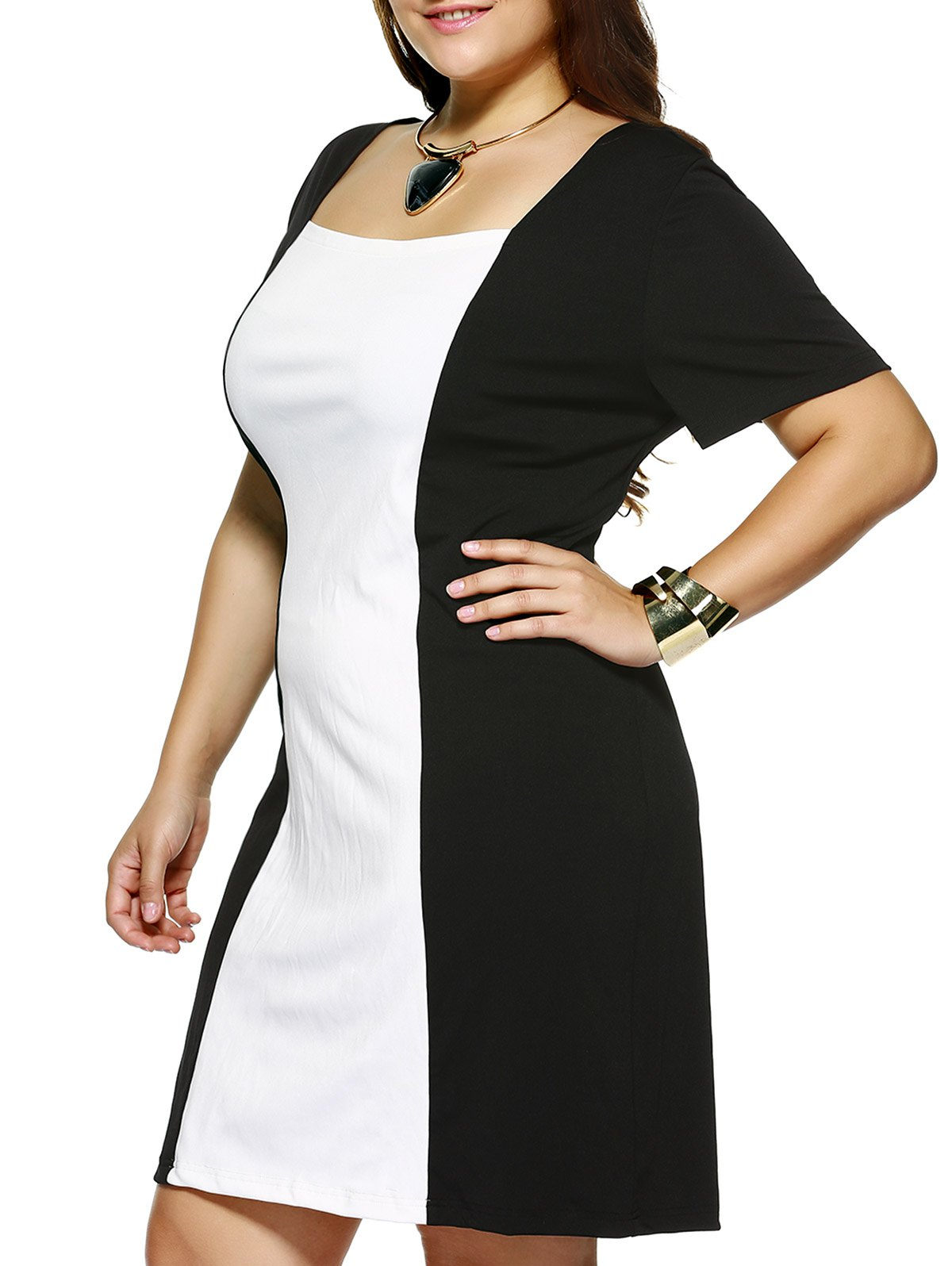 Plus Size Square Collar Color Block Dress - WHITE/BLACK XL