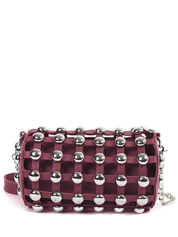 Metal Rivets Chain Cylinder Shape Crossbody Bag - WINE RED