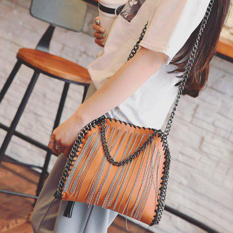 Chains-Trimmed PU Leather Fringe Crossbody Bag - BROWN