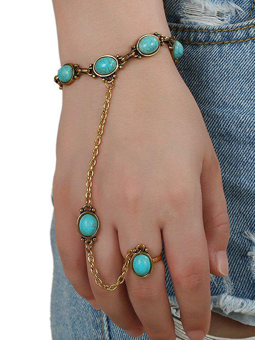 Faux Turquoise Oval Bracelet with Ring - GOLDEN