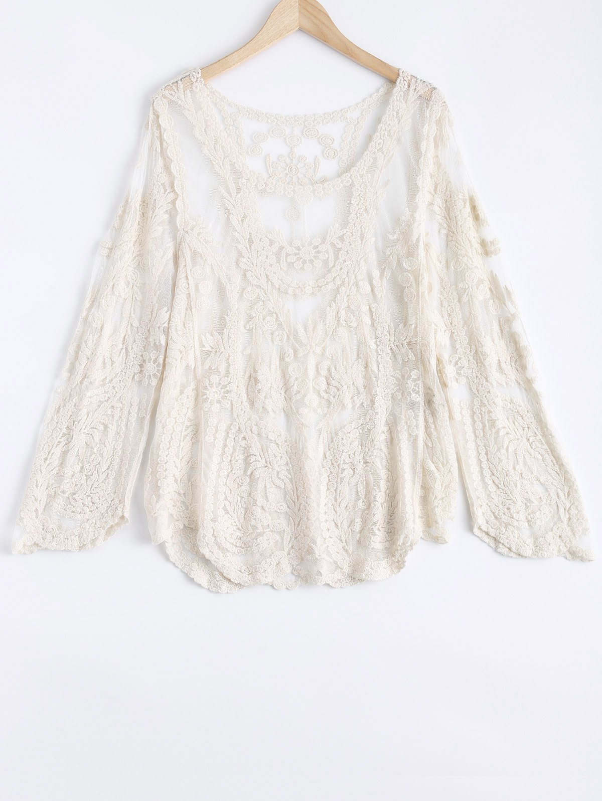 Lace Crochet Long Sleeves Blouse - BEIGE ONE SIZE(FIT SIZE XS TO M)