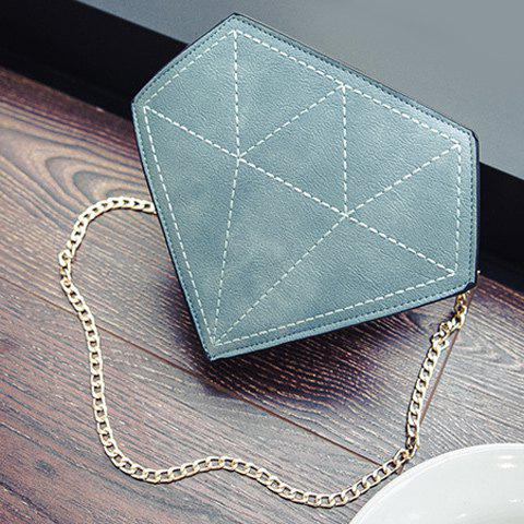 Chains Stitching Diamond Shaped Crossbody Bag - BLUE