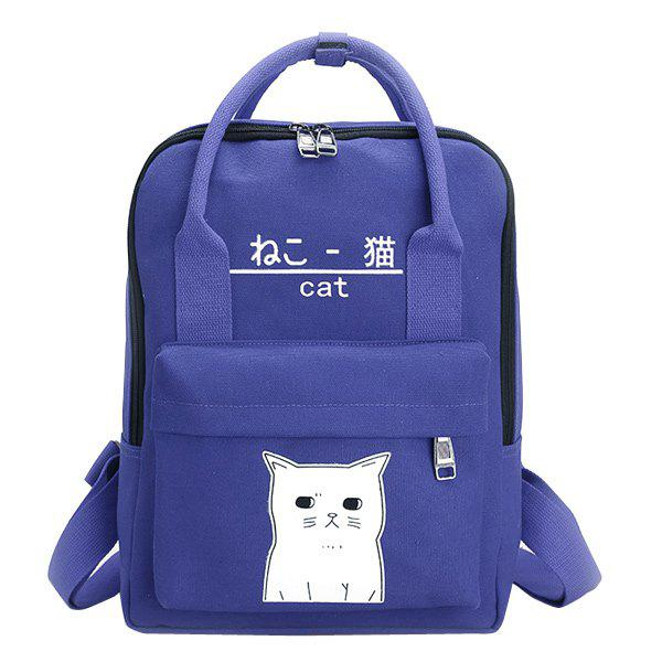 Canvas Cat Print Backpack - BLUE