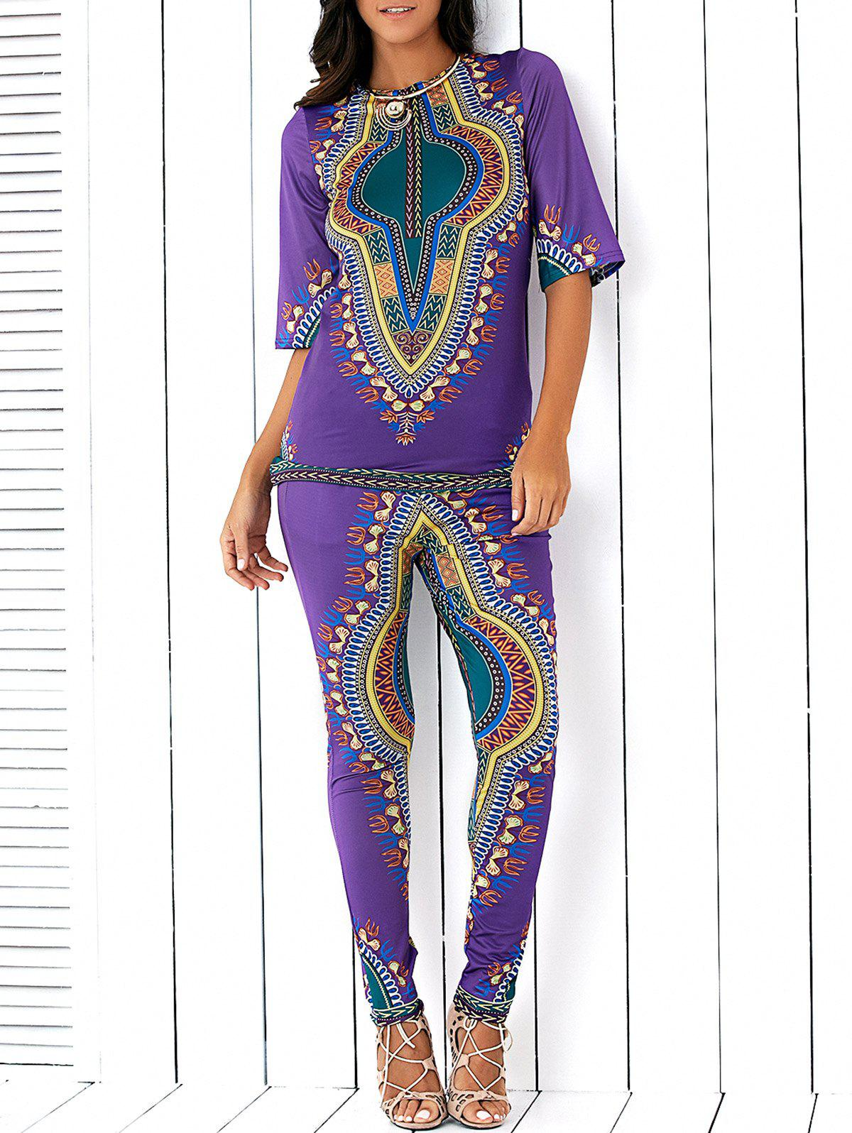 Ethnic Style Totem Print Slit High Low Blouse and Skinny Pants Twinset