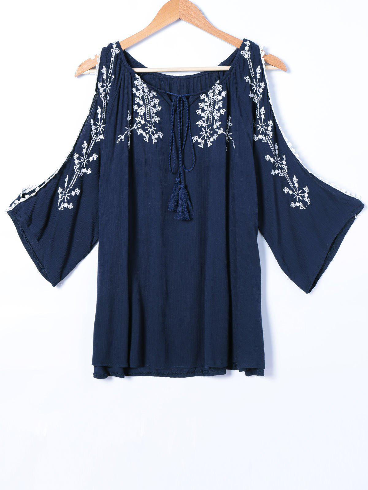 Embroidery Hollow Out Long Sleeve Blouse - CADETBLUE ONE SIZE