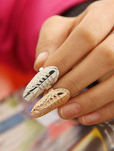 2 Pcs Embossed Fishbone Nail Rings