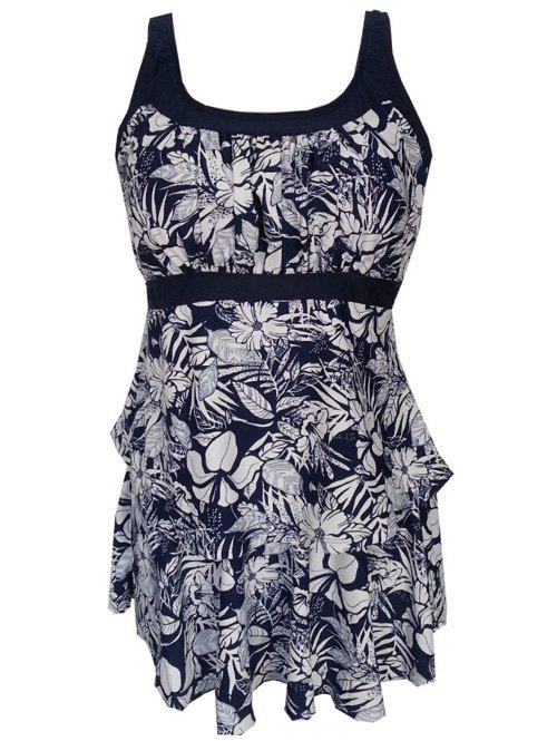 Floral Pattern Ruffled Padded Tankini Set