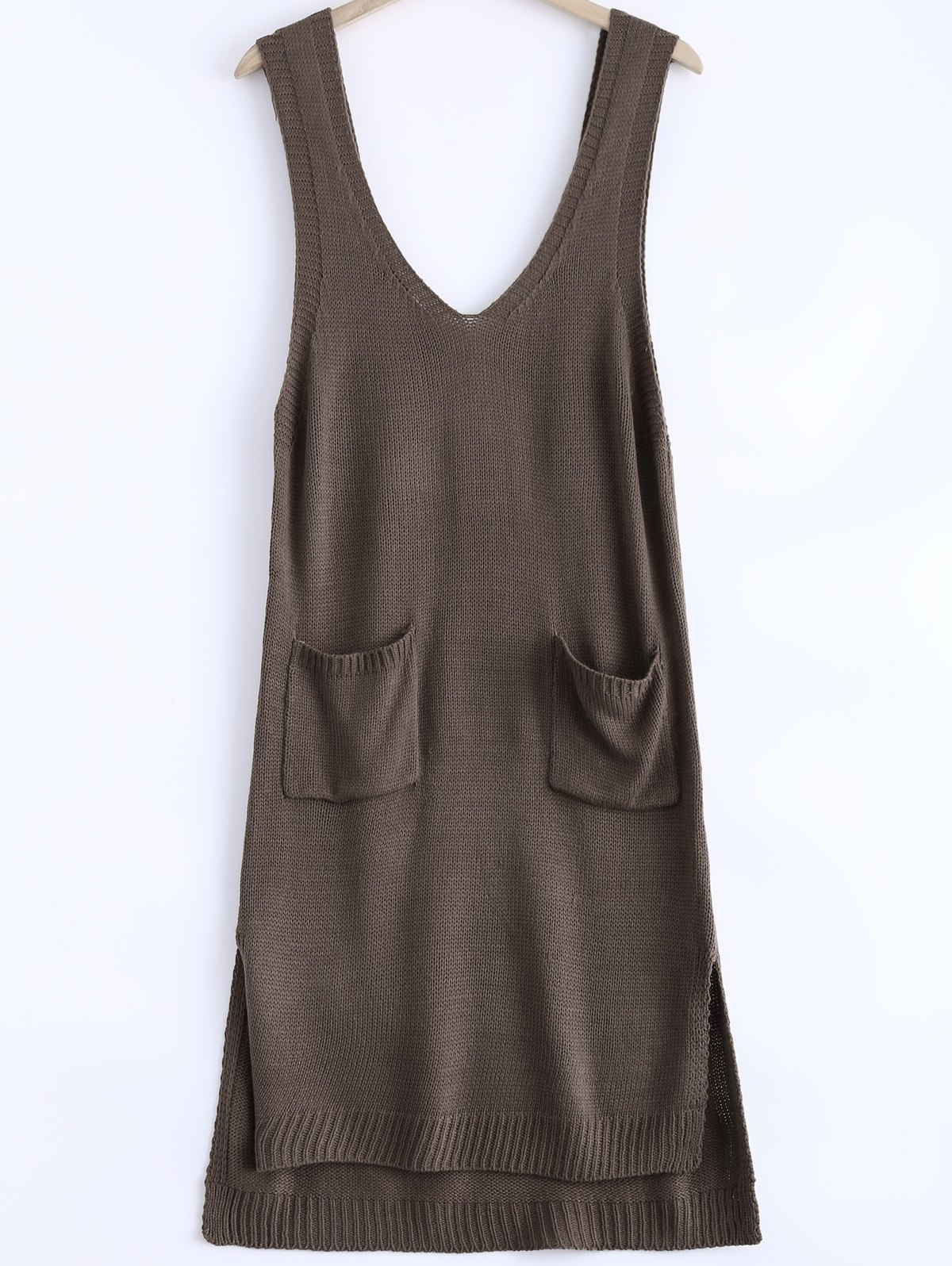 Casual Sleeveless High Low Knitted Dress For Women - COFFEE ONE SIZE