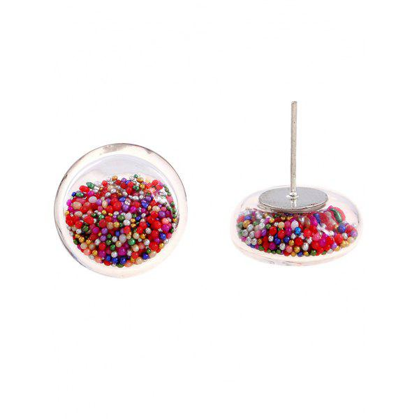 Pair of Transparent Beads Stud Earrings