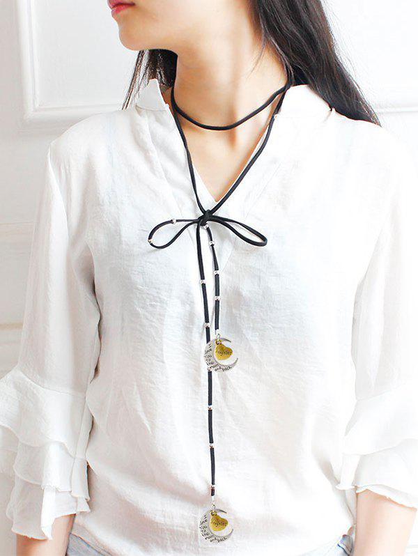 Faux Leather Bowknot Moon Daughter Choker - BLACK