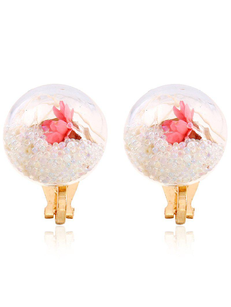 Pair of Glass Flower Beads Clip On Earrings automatic sensor polish chrome waterfall bathroom basin faucet cold tap plate