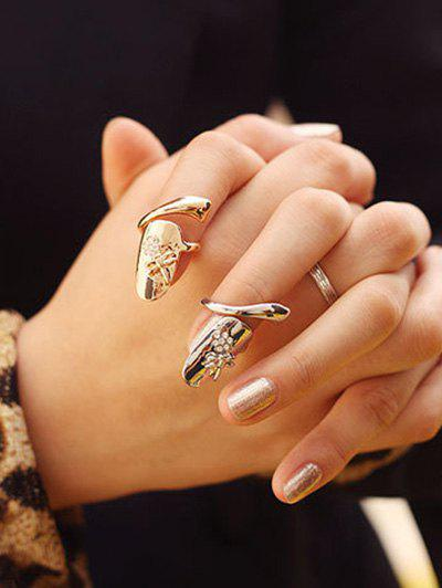 2 Pcs Dragonfly Rhinestone Flower Nail Rings - SILVER/GOLDEN