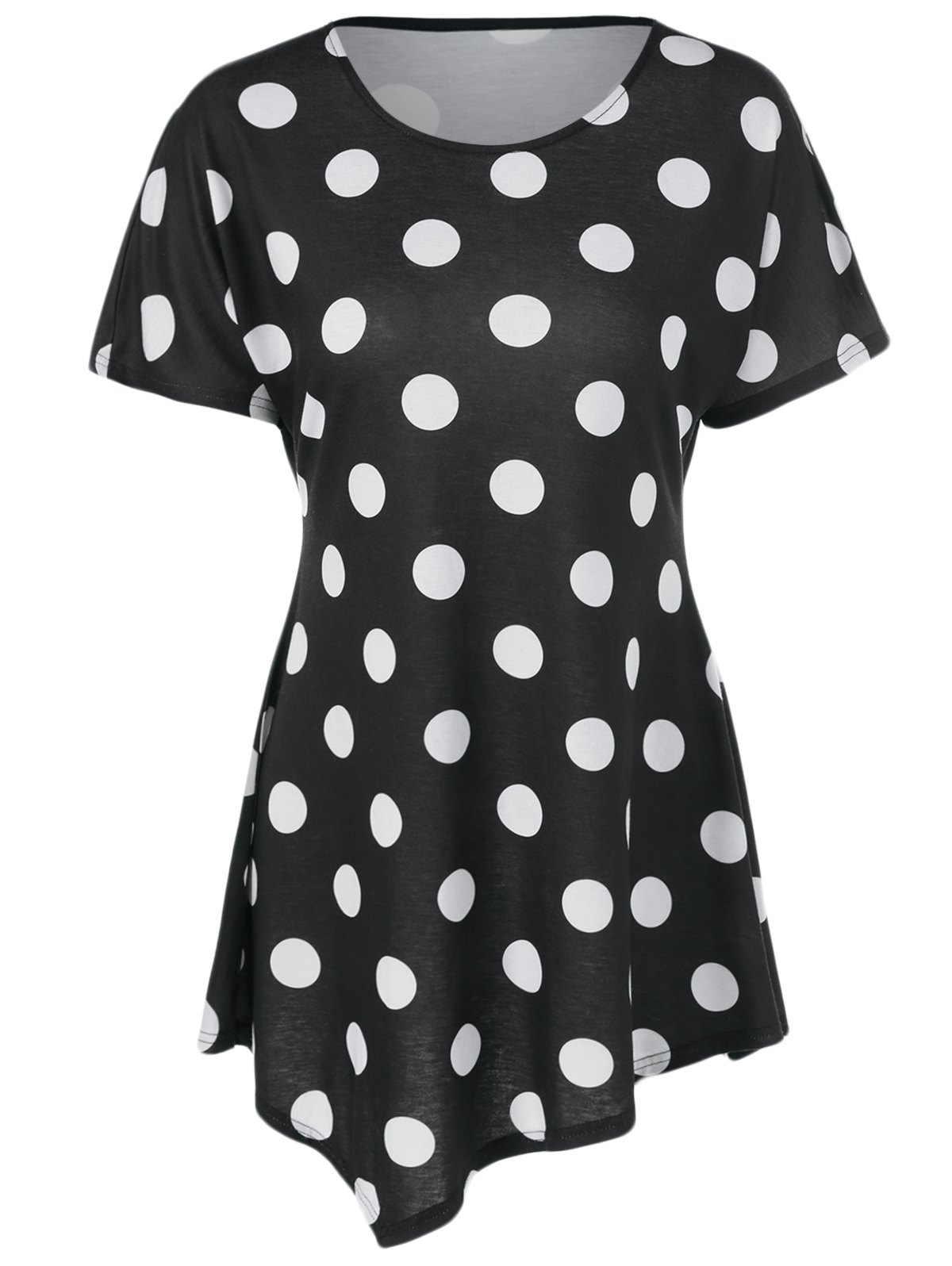 Polka Dot Print Asymmetrical Dress - WHITE/BLACK L