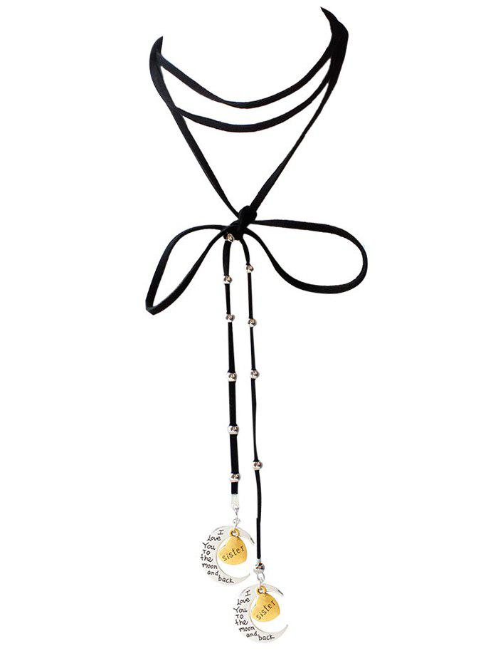 Faux Leather Bowknot Sister Moon Choker