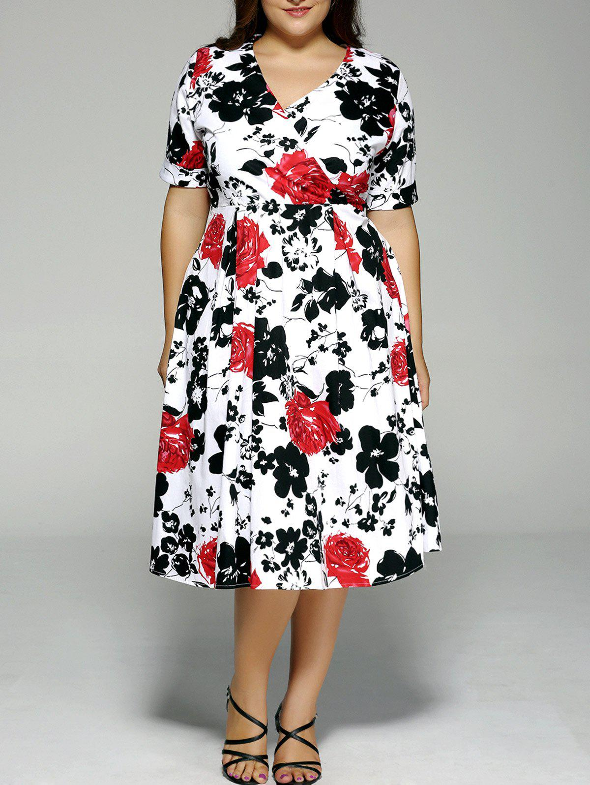 Plus Size High Waist Floral Surplice Dress - WHITE 4XL