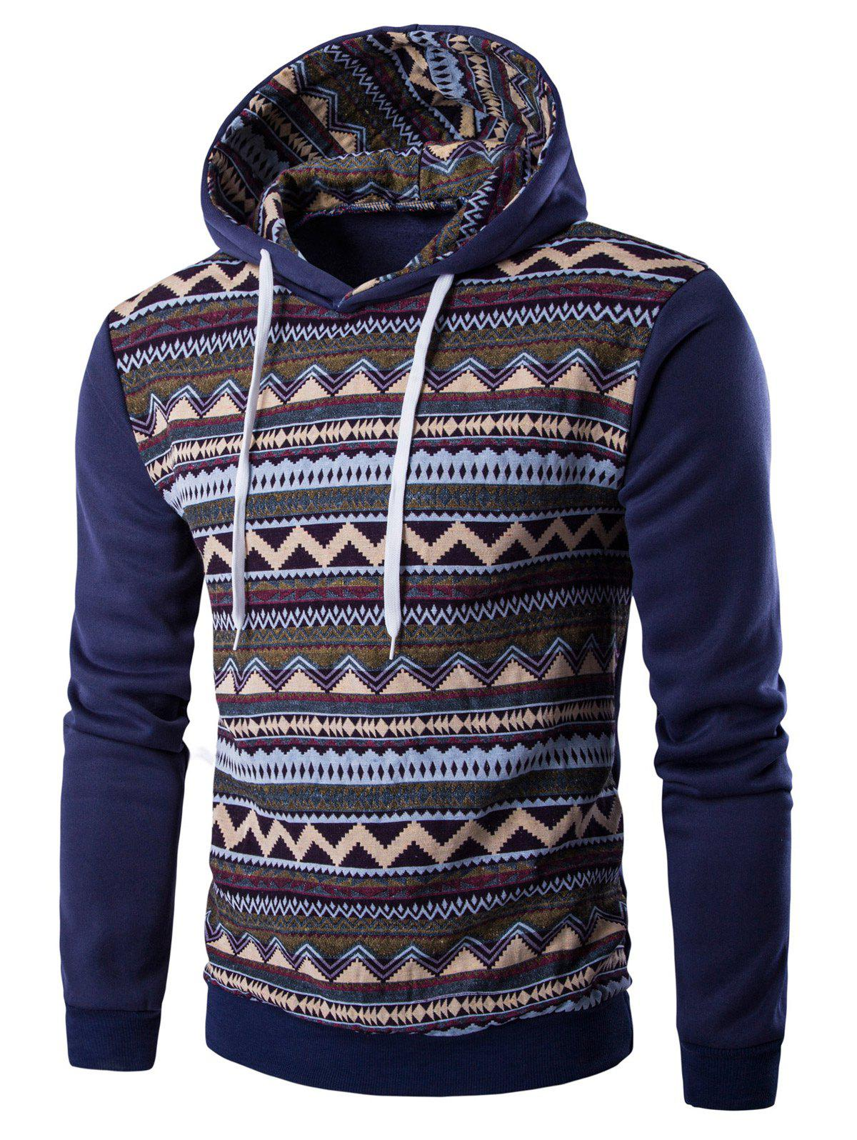 Hooded Long Sleeve Tribal Print Fleece Hoodie - DENIM BLUE XL