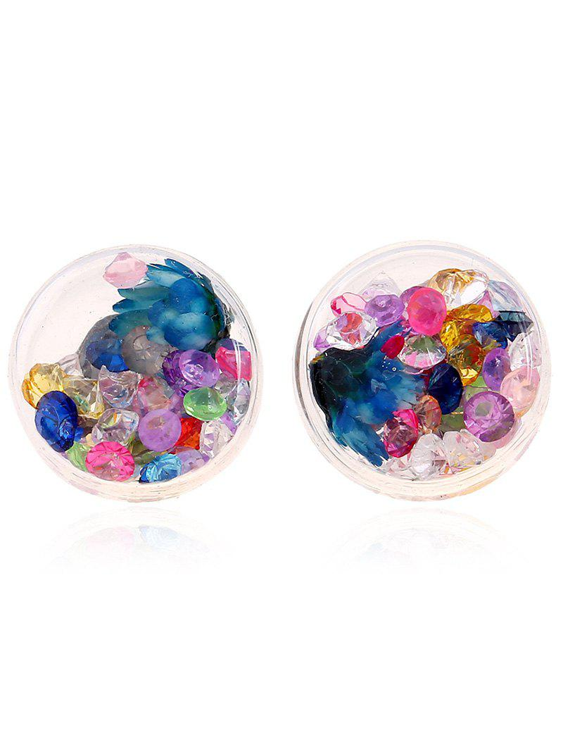 Pair of Glass Flower Rhinestone Stud Earrings - COLORMIX