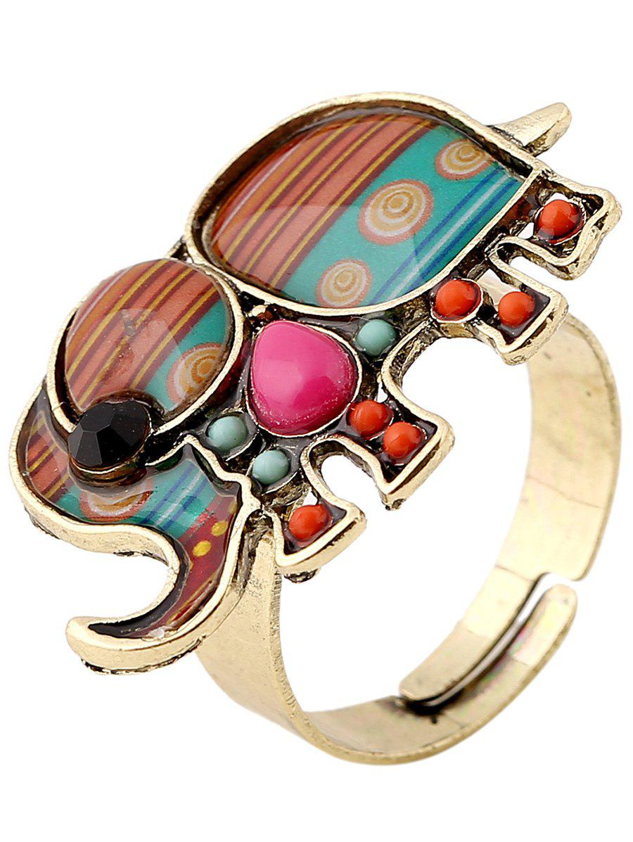 Elephant Faux Gem Beaded Ring - COLORMIX