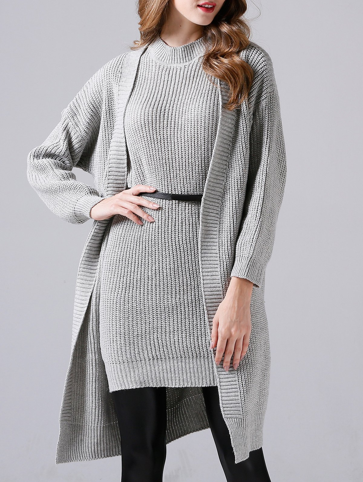 Sleeveless Sheath Knitted Dress and Long Sweater Coat - GRAY ONE SIZE