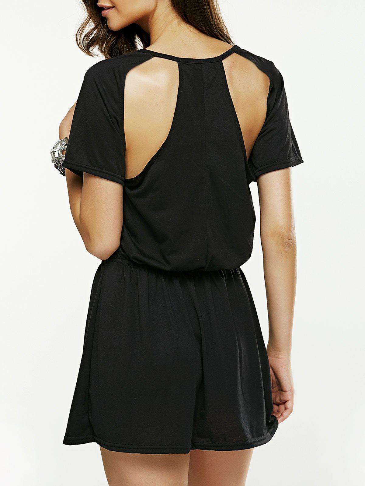 Hollow Out Backless Mini Dress - BLACK S