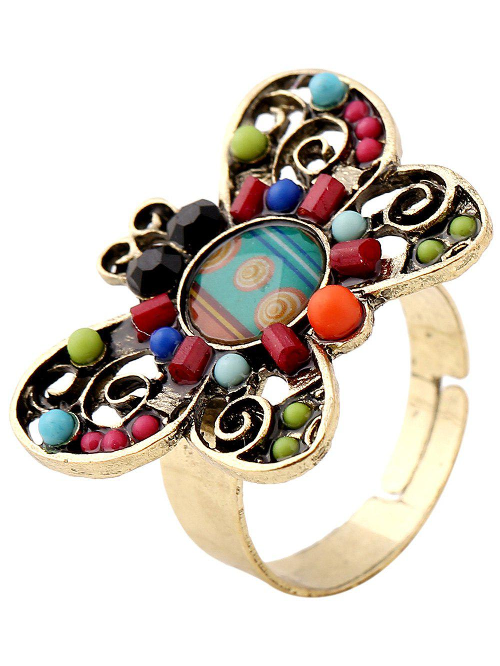 Hollowed Beaded Butterfly Ring - COLORMIX