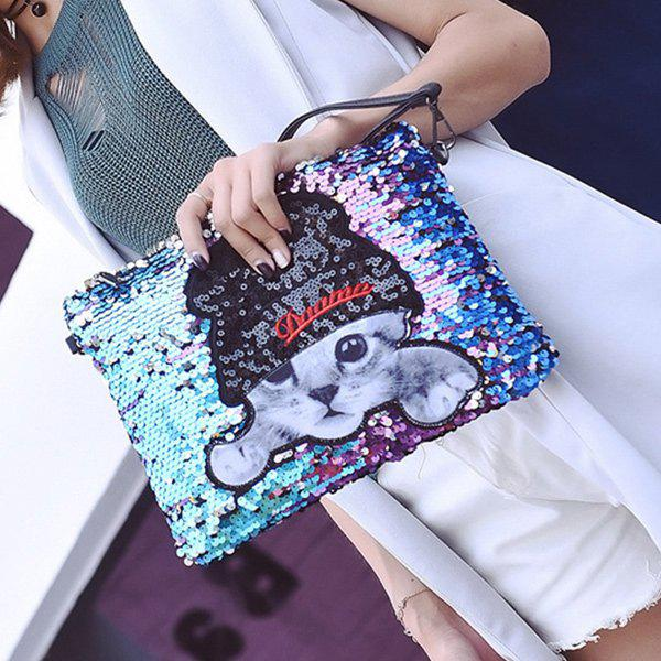 Cat Applique Sequins Clutch Bag