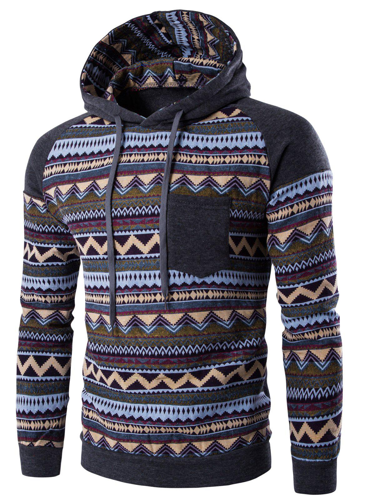 Hooded Pocket Raglan Sleeve Color Block Tribal Printed Hoodie - DEEP GRAY 2XL