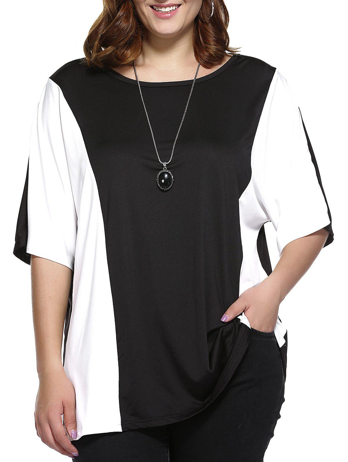 Plus Size Color Block Blouse - WHITE/BLACK 5XL