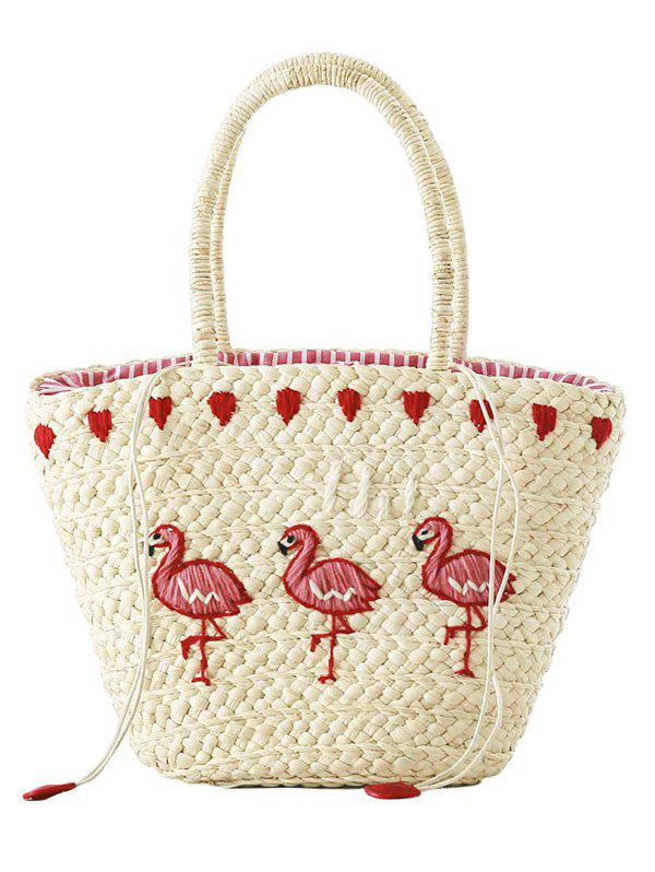 Straw Flamingo Embroidery Tote Bag - OFF WHITE