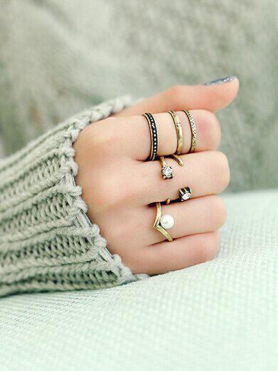 A Suit of Faux Pearl Rhinestone Caged Rings - GOLDEN