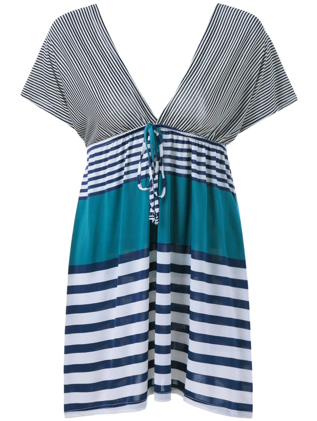 Stripe Plunging Neck Dress - ONE SIZE(FIT SIZE XS TO M) TURQUOISE