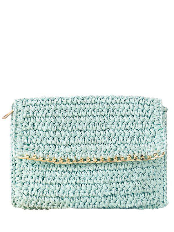 Weaving Chain-Trimmed Straw Clutch Bag - LIGHT BLUE