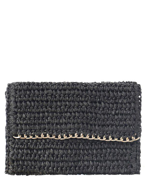 Weaving Chain-Trimmed Straw Clutch Bag
