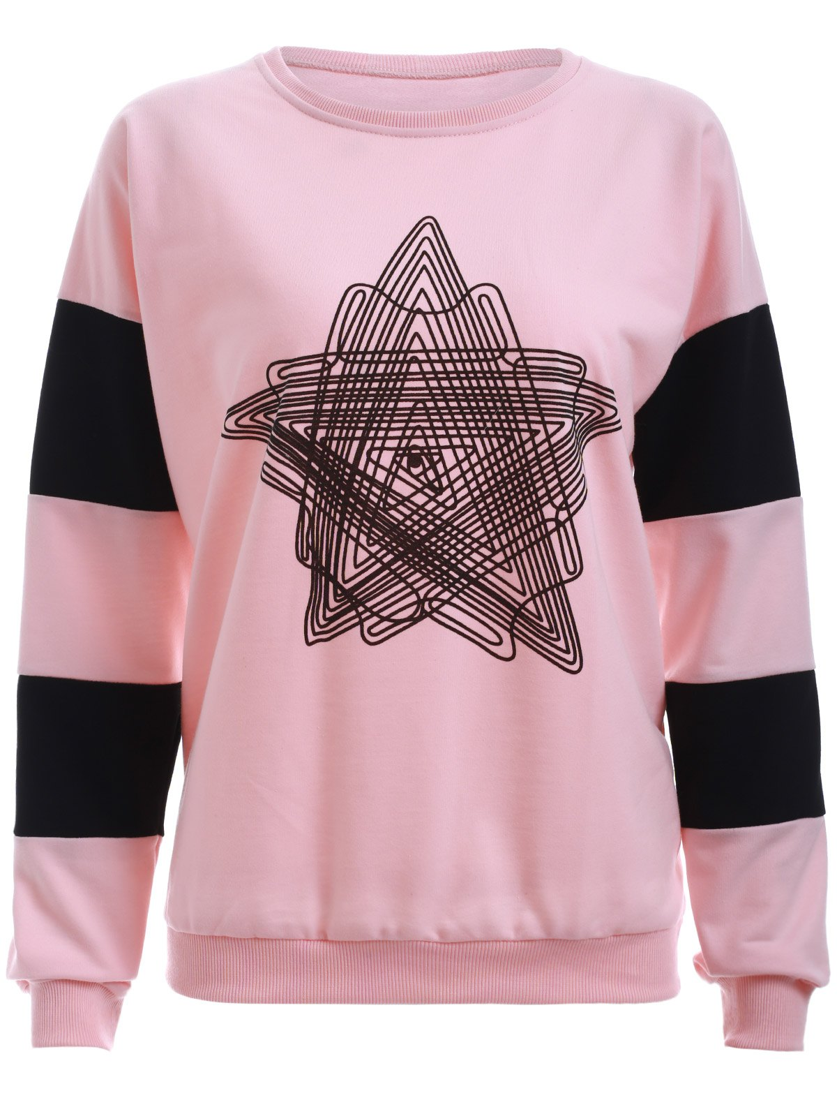 Star Print Long Sleeves T-Shirt - PINK L