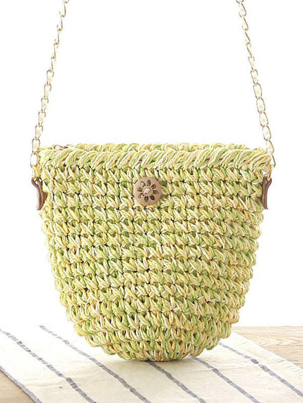 Chains Button Crochet Crossbody Bag - GREEN