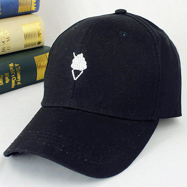 Summer Sunscreen Ice-Cream Embroidery Baseball Hat - BLACK